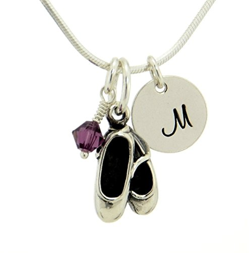 Ballet Slippers Shoes Pendant Custom Hand Stamped Initial Letter Round Tag Crystal Birthstone Charm Snake Chain Necklace (20) (Sterling Silver Round Tag Pendant)