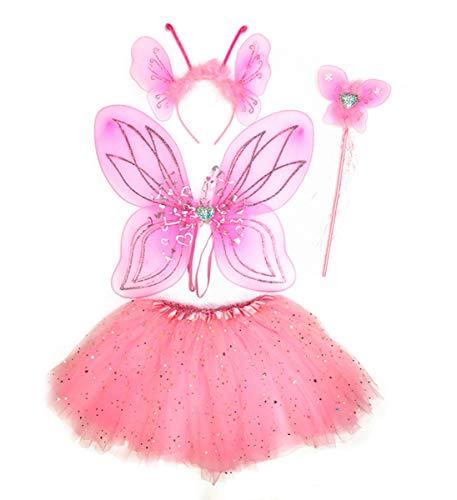 Mozlly Pink Heart Glittery Butterfly Fairy Tutu Costume