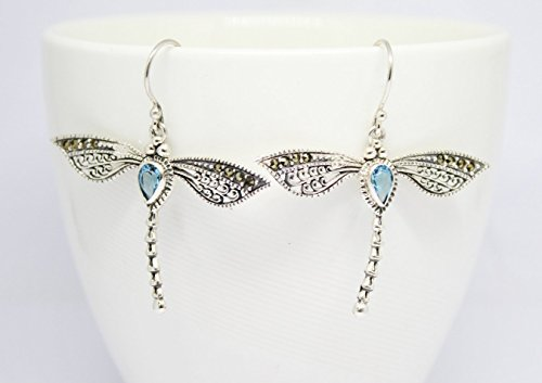 handmade 925 sterling silver dragonfly dangle drop earrings with 5 * 7 mm genuine blue topaz and marcasite, dragonfly silver earrings 4,5 cm drop length