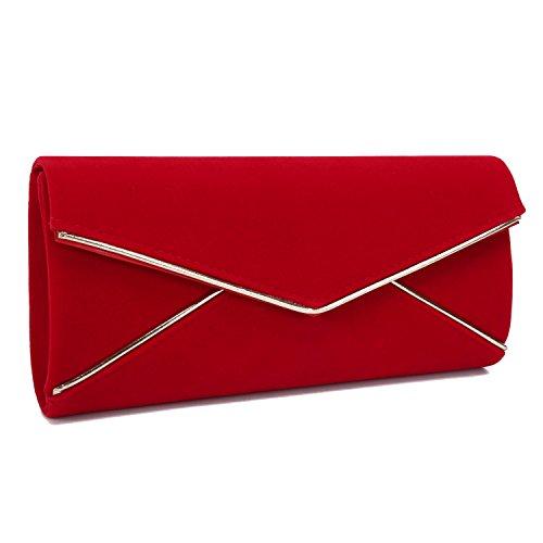 Red Velvet Rhinestone (Tanpell Womens Wedding Evening Party Velvet Clutch Bag Retro Envelope Cross Body Handbag Red)