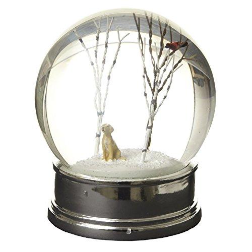 Heaven Sends Snow Globe - Gold Dog Winter Scene