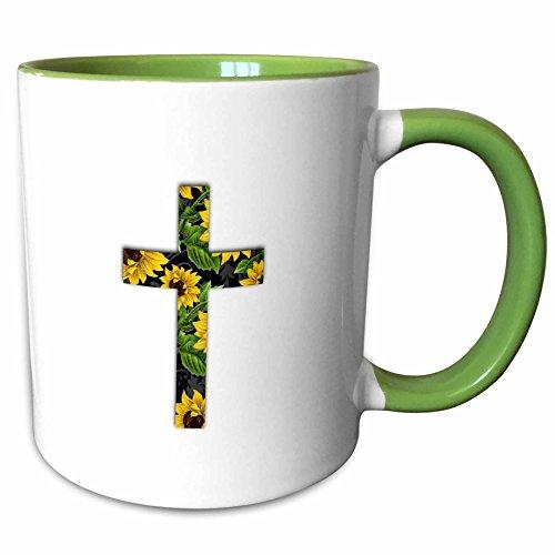 3dRose InspirationzStore Christian Designs - Sunflower pattern Christian Cross - black and yellow floral crucifix - 15oz Two-Tone Green Mug - Crucifix Yellow Cross
