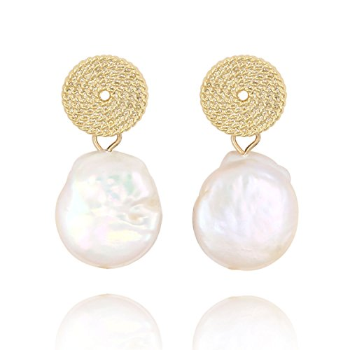 Baroque Pearl Stud Earrings-14K Gold Tone Hammered Disc Drop Statement Women Earring Gifts - Gold Tone Hammered Disc
