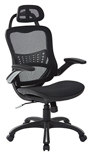 Office Star  Breathable Mesh Seat and Back, 2-to-1 Synchro Tilt Control, Padded Flip Arms, Silver Base and Accents Managers Chair with Headrest, Black.