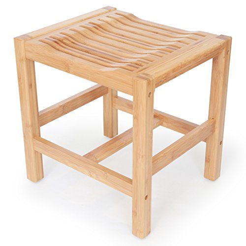 ToiletTree Products Deluxe 100% Wooden Natural Bamboo Shower and Bath Seat Bench