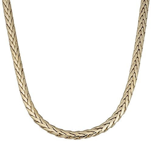 14k Weave Necklace - Kooljewelry 14k Yellow Gold 5.4mm Flat Weave Necklace (18 inch)