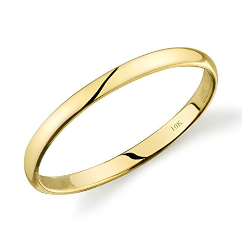 Tesori & Co 10k Yellow Gold Light Comfort Fit 2mm Wedding Band Size (Yellow White Gold Wedding Rings)