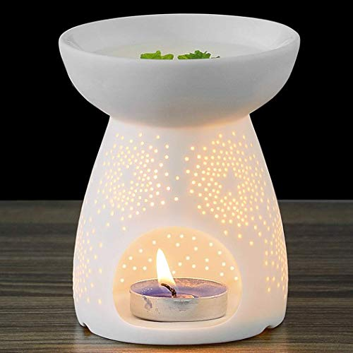 - NJCharms Ceramic Tealight Holder Essential Oil Burner Aromatherapy Wax Candle Tart Burner Warmer Diffuser Aroma Candle Warmers Porcelain Decoration for Parlor Bedroom Carved Star Shape White