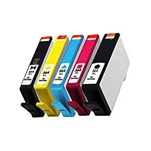 QINK (Como Pack) 1 Pack 5 Slot 564 Print Head for 564 CB326-30001 CN642A Printhead & 5 Pack 564XL (BK PBK C M Y) Ink Cartridge For PhotoSmart 7510 7520 by QINK (Image #2)