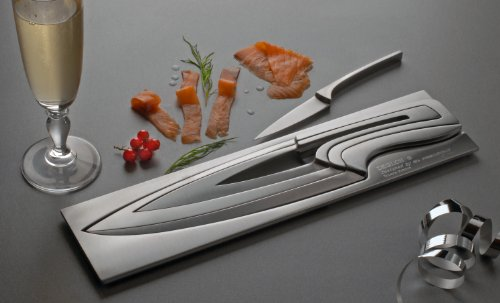 Deglon Meeting Knife Set, Stainless Steel Knives and Block, Set of 4