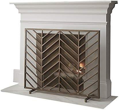 YYR アイアンファイアパネル暖炉スクリーン、オープン火災/ガス火災のためのベビー安全火災画面スパークガードヘビーデューティメタルメッシュ/ログウッドバーナー