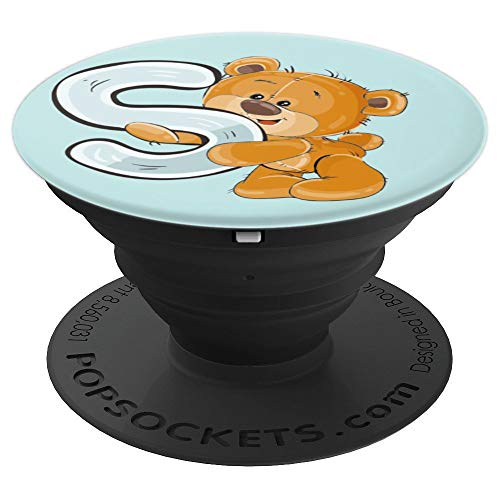 Letter S monogram initials alphabet cute bear gift for kids - PopSockets Grip and Stand for Phones and Tablets