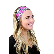 Renegade Princess Headband Skulls and Flowers Over Pink Headwrap Headwear