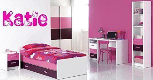 Hello Kitty Personalised Name & Colour Bedroom Wall Art Vinyl Decal Sticker 24 Colours Available ***Please Message Us With Name & Colour*** (Fuchsia)