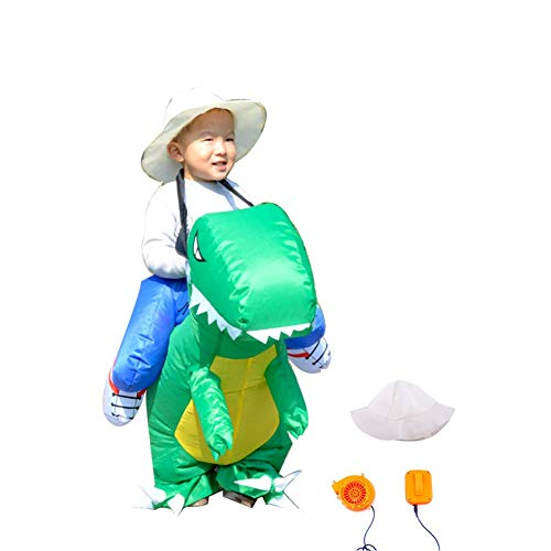 LCMJ WS Halloween Inflatable Costumes Green Dinosaur Knight Funny for Kids with Electric Inflatable Pump (Color : Blue) -