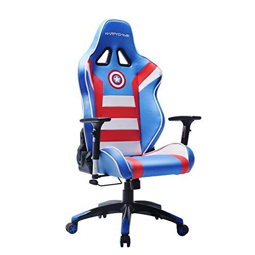 HYAFN PC Gaming Chair Silla de Oficina de Carreras, Silla de Escritorio Ergonomica para Computadora, Silla Giratoria Ajustable de Fibra de Carbono PU de Cuero con Reposacabezas y Soporte Lumbar