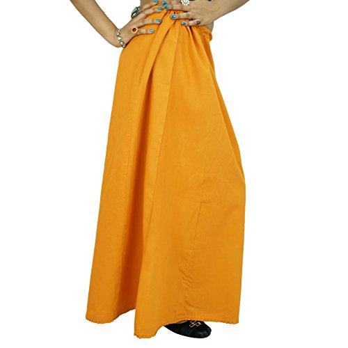 Bollywood Indian mujeres del desgaste sólido del algodón de las enaguas de la enagua de la guarnición Para Sari ocre amarillo
