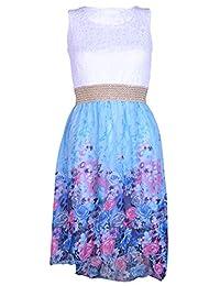 Girls Asymmetrical Floral Hem Chiffon Dress