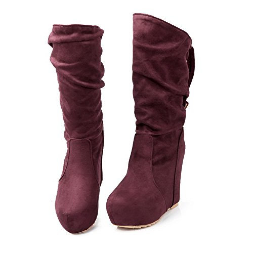 Imitated 7 and AmoonyFashion with Frosted M 5 Heels Red Short B Suede Buckle Plush Womens Solid US Boots High Wege xq71qtBZ