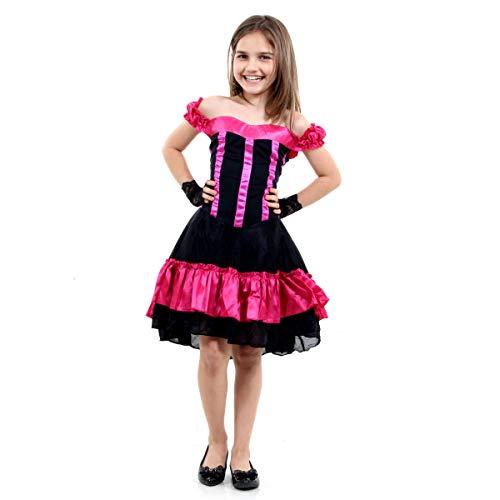 Fantasia Can Luxo Infantil Sulamericana Fantasias Preto/Rosa P 3/4 Anos