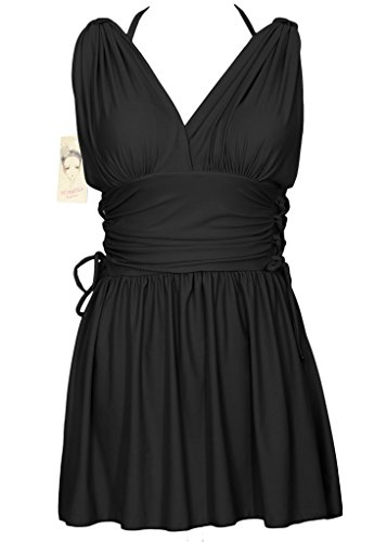 Women's Shaping Body Swimwear Two Piece Swimdress Elegant Skirted Swimsuit(FBA) Pearl Black US 12-14/Tag 3XL