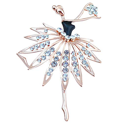 Dancing Girls Brooch Pin for Women Fashion Bownot Pendant Wedding Party Deco Jewelry