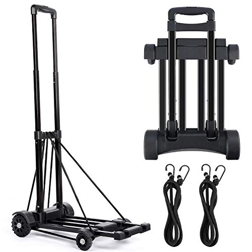 Hand Truck Portable Folding Trolley with 4-Wheels with 2 Ropes Gift, Flat Luggage Cart with Telescopic Stainless Steel