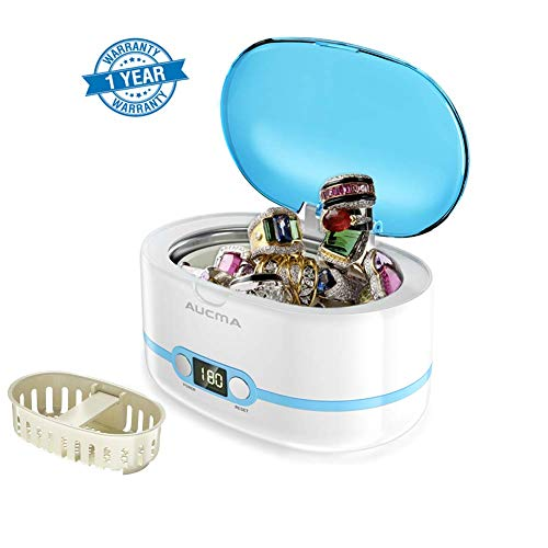 Watch Digital Jewelry Ultrasonic Cleaner - Ultrasonic Cleaner Professional Ultrasonic Jewelry Cleaners with Digital Timer for Jewellery Eyeglasses Lenses Necklaces Watches Rings Denture Coins, 20 Oz (Blue)