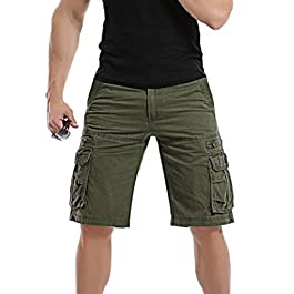 PASATO Men's Casual Solid Outdoors Pocket Beach Work Trouser Classic Cargo Shorts Pant