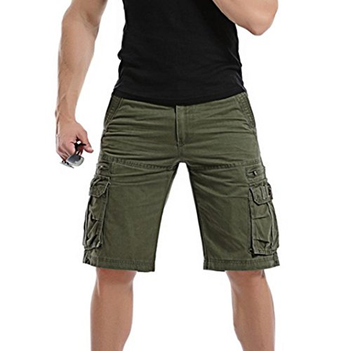 PASATO Men's Casual Solid Outdoors Pocket Beach Work Trouser Classic Cargo Shorts Pant(Army Green, 31)
