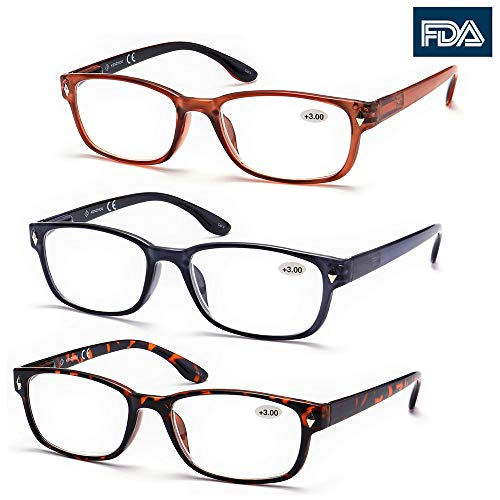 High Value Pack! 3 Pack Wayfarer Reading Glasses for Men Women (+2.00 200, Brown) (Best Of Coach Hines)