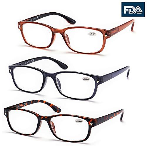 High Value Pack! 3 Pack Wayfarer Reading Glasses for Men Women (+2.00 200, Brown)