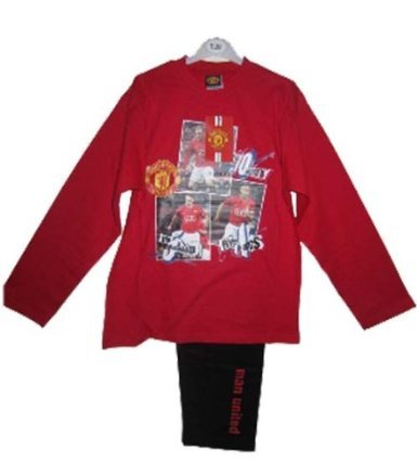 Boys Kids Manchester United F.C Rooney Giggs Rio Cotton Long Pyjamas Sleepwear Nightwear