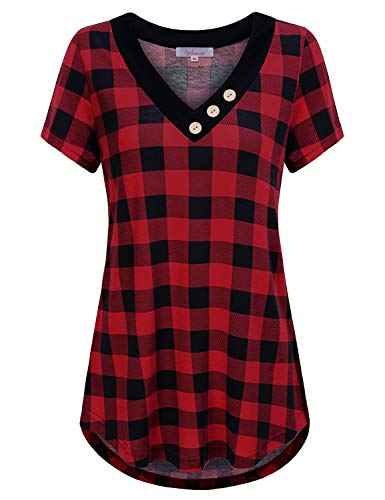 - Plaid Shirts for Women,Juniors Clothing Split V Neck Short Sleeve Button Up Blouse Roomy Breathable Comfy Basic Check Tartan Plaid Pattern Shirttail Hem Shirt for Summer Red-Black Medium