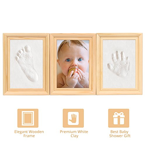 Baby Handprint Kit - Best Baby Shower Keepsake Kit For Parents, Lovely Wall Decor For Nursery Room, Premium Clay and Wooden Frame, Baby Handprint Picture Frame for Room Wall or (Baby Shower Decor Kits)