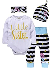 Baby Girl Clothes Infant Outfits Set 4 Pieces Long Sleeved Tops + Pants