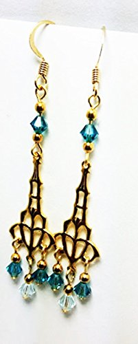 rings Aqua and Teal Austrian Crystal Dangle Earrings - 50 Shades of Teal ()