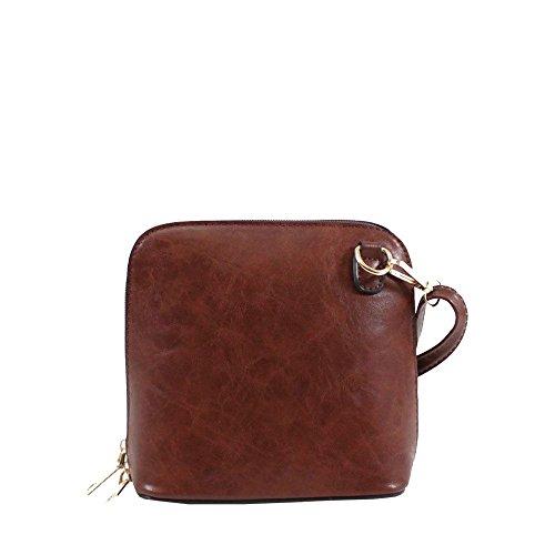 Ladies Brown Leather Crossbody Bag Plain New Handbag Small Faux dAd86