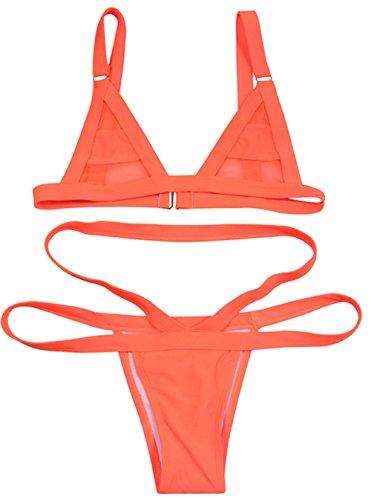 Women's 2 pcs Sexy Bandage Candy Color Swimsuit Bikini