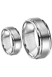 Men & Women's 8MM/6MM Brushed Center Shiny Edge Cobalt Chrome Wedding Band Ring Set (Available Sizes 6-12 Including Half Sizes) Please e-mail sizes