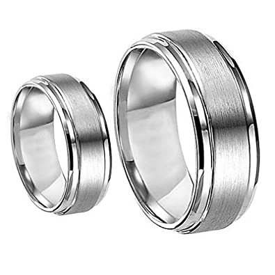 7c538bb1263d9 Men & Women's 8MM/6MM Brushed Center Shiny Edge Cobalt Chrome Wedding Band  Ring Set (Available Sizes 6-12 Including Half Sizes)