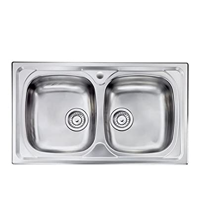 Lavello cucina Siros ad incasso acciaio Inox, cm.86x50, 2 vasche senza  gocciolatoio