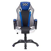 FurnitureR Gaming Executive Desk Chair, Racing Car, Blue