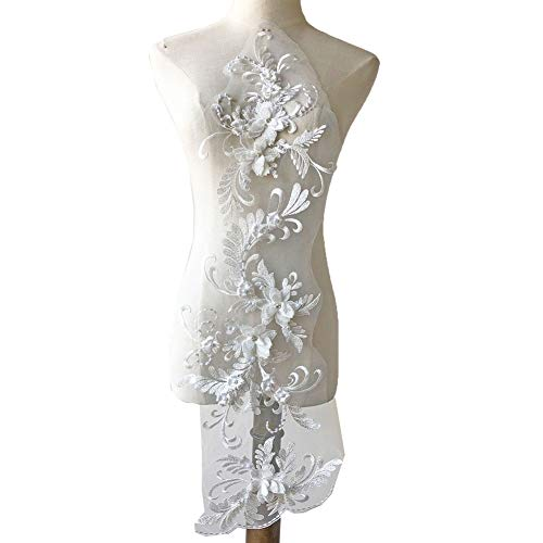 Off-White Lace Appliques Beaded Embroidery 3D Flower Patches Sewing Lace Motif Accessoris for Dance Costumes Wedding Dress Bodices