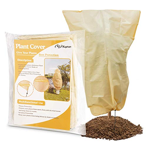 Kupton Plant Cover for Frost Protection, 31.50″×47.24″ Upgraded Thickness Frost Cover Anti-freeze Jacket Warm Blanket for Shrub and Trees to Keep Your Plants from Damage (2 Pack)