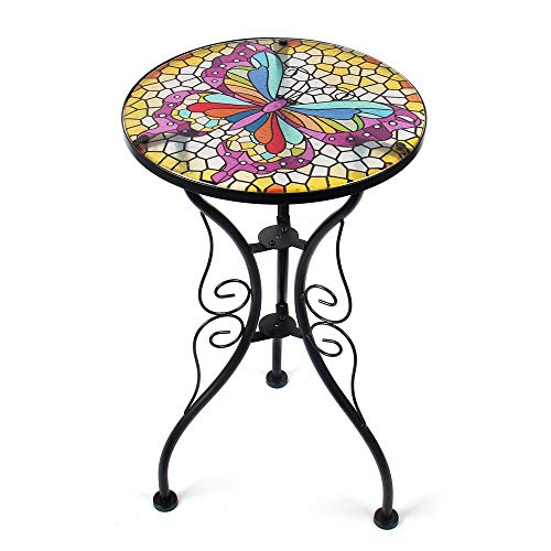 Liffy Butterfly Side Table Outdoor Round Painted Glass Desk for Garden, Dining Room - 22'' High ()