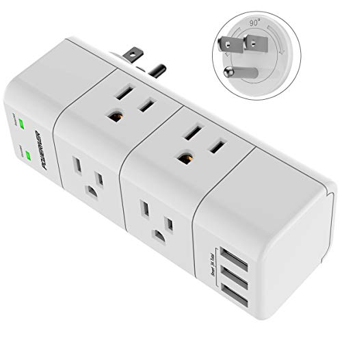 Surge Protector, Outlet Expanders with Rotating Plug, POWERIVER USB Wall Charger with 6 Outlet Extender (3 Side) and 3 USB Ports, 1680 Joules, for Home/School/Office/Travel, White