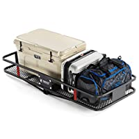 "60"" x 24"" Cargo Hitch Carrier by Vault - Haul Your Cooler & Camping Gear with this Rugged Steel Constructed Storage Rack & Basket for Your Truck, SUV, or Jeep - Easily Mounts to Towing Hitches"