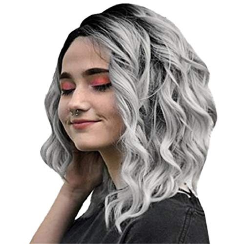Kadola Wigs For Women Ombre Black to Gray Short Wavy Bobo Rose net Wig Glueless Front Wigs