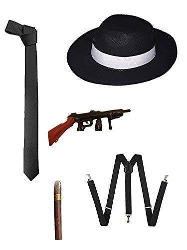 35fb5193 WickedFun® 1920s AL CAPONE MAFIA MEN BLACK GANGSTER TIE BRACES BLACK HAT  CIGAR FANCY DRESS